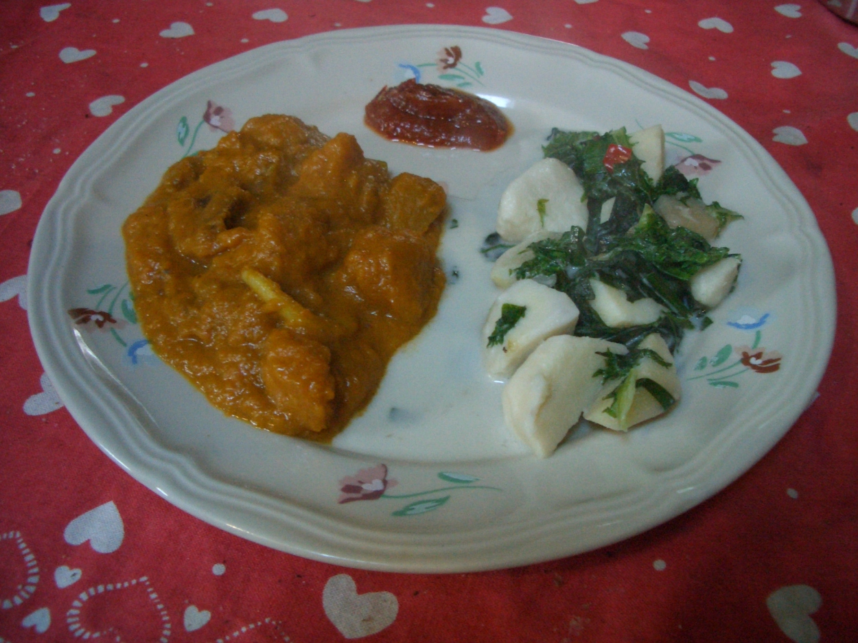 Permaculture: grow your own and eat it too! Pumkin curry and coconut taro.