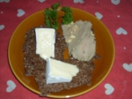 Linseed crackers with duck liver pate, brie and camembert