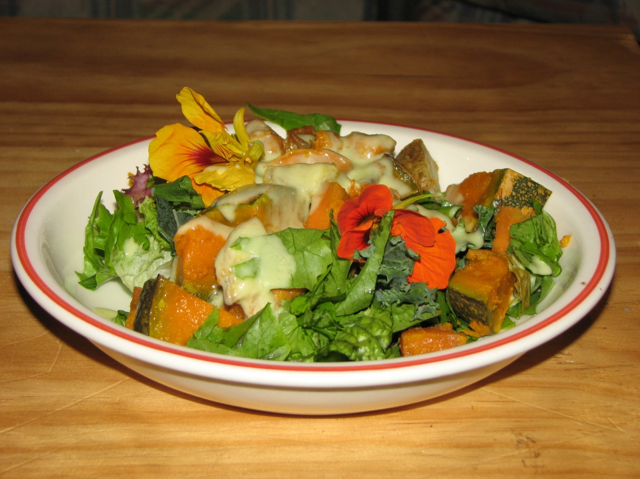 Roast Veg salad with Citrus Avocado dressing