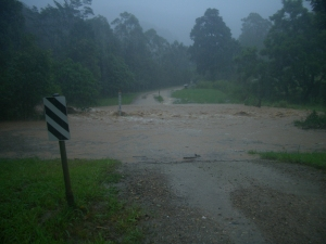 Our road floods on both sides of our property.