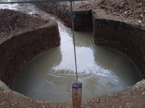 Concrete laid, with the pole in the middle