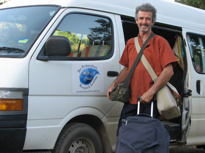 Tom leaving to teach a Permaculture Design Certificate in Vanuatu.