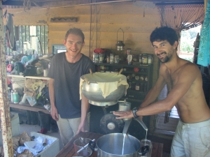 Dani and Brad separating the cream