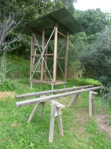 The frame for the outhouse at the Permaculture Research Institute Sunshine Coast