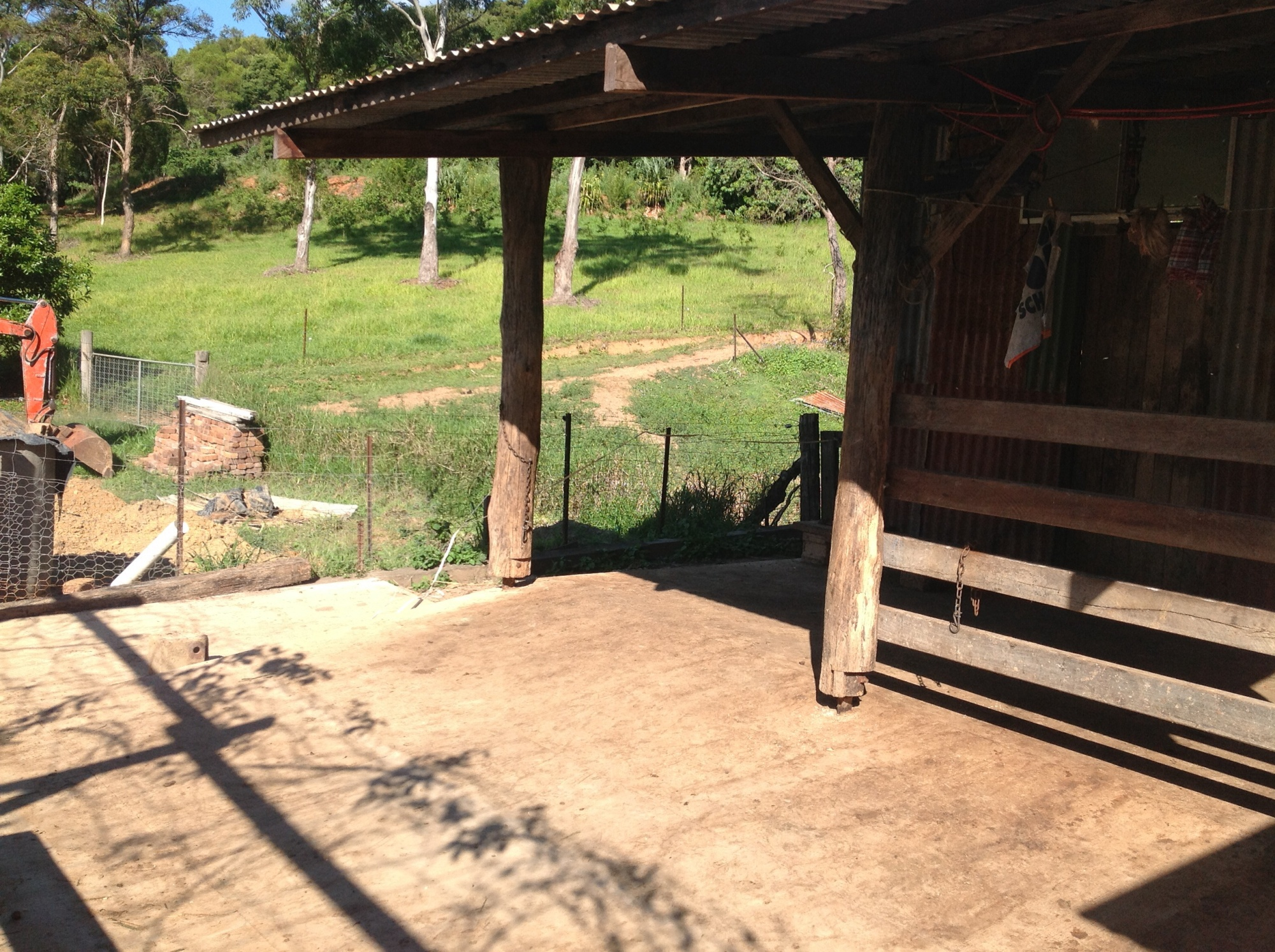 The cattle yard at the Permaculture Research Institute Sunshine Coast holds the cows overnight.