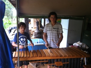 Oscar and Marlon playing marimba