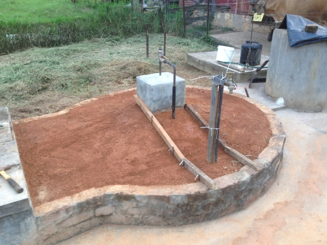 Tom Kendall prepares the area to be concreted on his bio-digester at Maungaraeeda, Sunshine Coast.