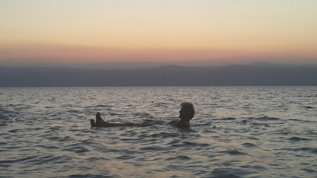 """Tom Kendall """"floats"""" on the Dead Sea."""