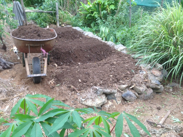 Tom Kendall adds compost to his garden bed on his permaculture designed property.