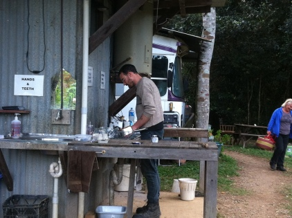 Paul doing dishes at the teaching space