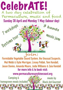 Poster for CelebrATE!, a two day celebration of permaculture, music and food!