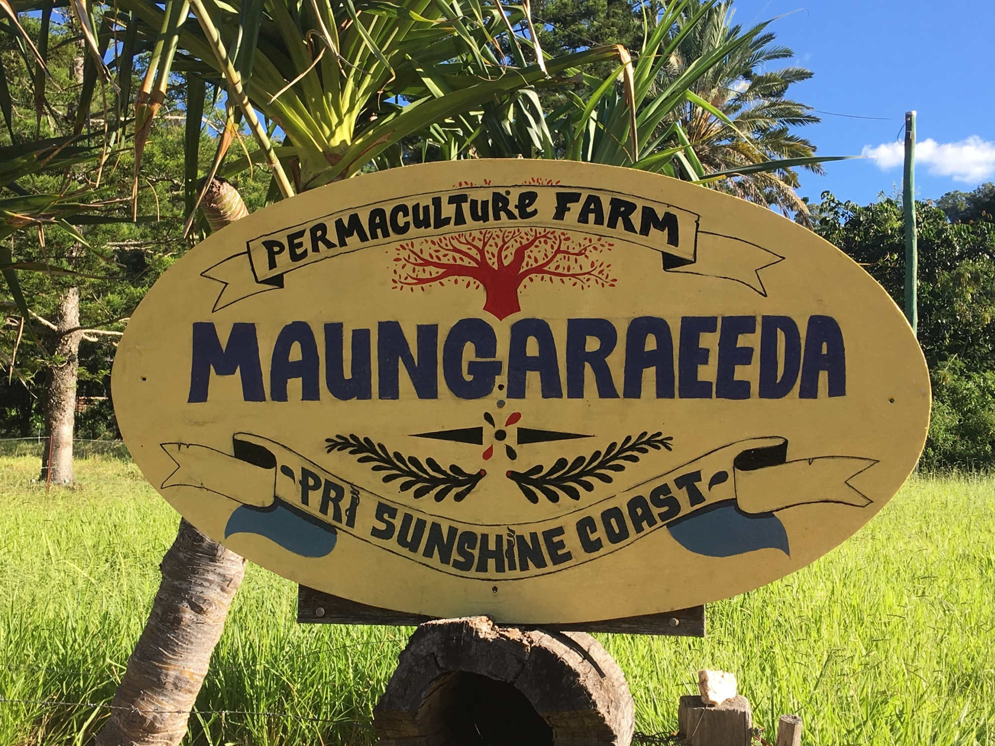 Maungaraeeda and Permaculture Research Institute Sunshine Coast sign